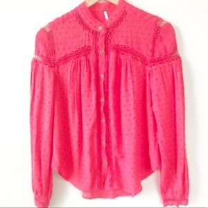 Free People Button Up Textured Peasant Blouse